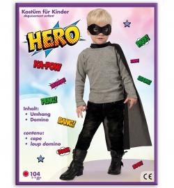 Black Hero, Umhang mit Maske, schwarz PB, Größe 104-116