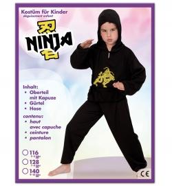 Ninja, Oberteil mit Kapuze, Hose + Gürtel