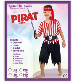 Pirat, Oberteil, Hose, Gürtel + Stirnband