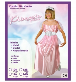 Prinzessin Kleid mit Gürtel + Kopfschmuck