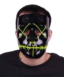 Maske mit Neonlicht, batteriebetrieben