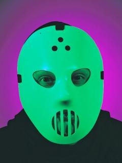 Hockey-Maske, weiß, nachleuchtend