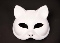 Katzen-Halbmaske weiß, bemalbar