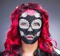 Textil-Maske Tag der Toten schwarz, fluroerz.