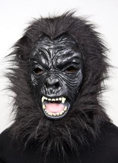Tiermaske Vollkopfmaske  Gorilla schwarz