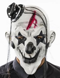 Maske Psycho-Clown mit Haar