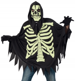 Umhang Skelett, nachtleuchtendes Halloween-Kostüm Größe Uni