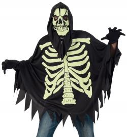Umhang Skelett, nachtleuchtendes Halloween-Kostüm