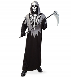 Robe Skelett, Kutte mit Kapuze und Maske