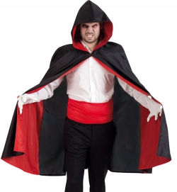 Vampire Umhang mit Kapuze, schwarz-rot , Größe Uni