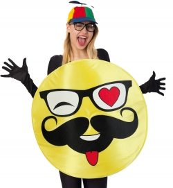 Emoji Smily Hipster Kostüm Universalgröße