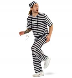 Sträfling Gefangener Knasti Kostüm Shirt, Hose, Mütze