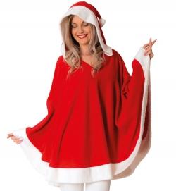 Poncho Nikolaus Weihnachtsfrau mit Kapuze Einheitsgröße