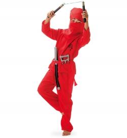 Roter Ninja Kämpfer für Kinder Red Ninja mit Gürtel und Haube