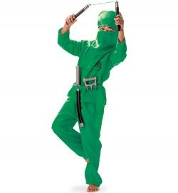 Grüner Ninja Kämpfer für Kinder mit Gürtel und Haube