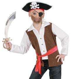 Pirat Oberteil mit angenähter Weste und Gürtel