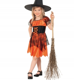 Hexenkleid orange für Kinder