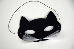 Tiermaske Halbmaske Katze schwarz