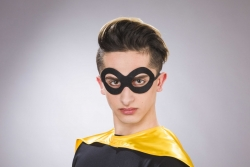 Stoff-Brillenmaske, schwarz