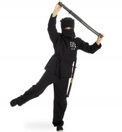 Ninja Kostüm schwarzer Kämpfer für Kinder