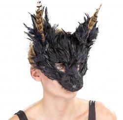 Federmaske Fabeltier Tiermaske, schwarz