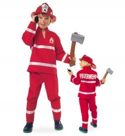 Kinder Faschingskostüm Feuerwehrmann rot