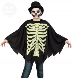 Umhang Skelett, nachtleuchtend für Kid´s