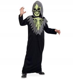 Skelett Kostüm Robe nachtleuchtend mit Kapuze und Maske