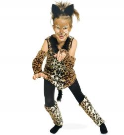 Raubkatze Leopard Kleid mit Arm + Bein Stulpen Tierkostüm