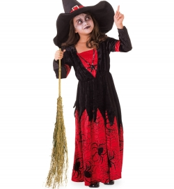 Hexe Kleid rot schwarz für Kinder