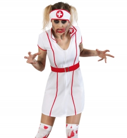 Krankenschwester, Kleid mit Gürtel + Haube
