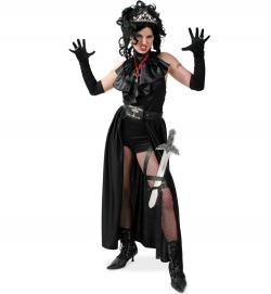 Lady Vamp 3tlg. Body, Gürtelrock und Jabot