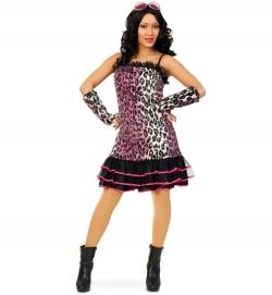 Pink Leopard Plüschkleid mit Tüllrock