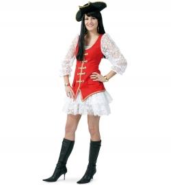 Edles Piratin Kostüm Kleid + Weste