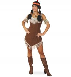 Indianerinkostüm Sisika Kleid mit Armstulpen