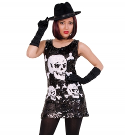 Pailletten Kleid Totenkopf