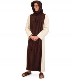 Mönch Ordensbruder Geistlicher Kutte mit Kapuze + Kordel