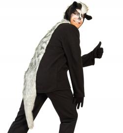 Stinktier Skunk, Oberteil mit Kapuze + aufgesetzter Tasche Tierkostüm