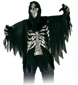 Umhang Überwurf Skelett mit Haube und Handschuhen