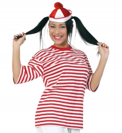 Ringel-T-Shirt rot/weiß für Matrose Clown Gondolier