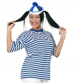 Ringel-T-Shirt blau/weiß für Matrose Clown Gondolier