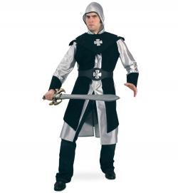 Schwarzer Ritter Waffenrock mit Kapuze und Überwurf