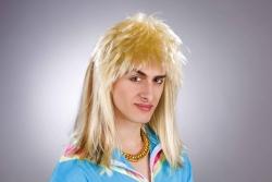 Herrenperücke Vokuhila, blond gesträhnt