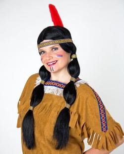 Indianer Zopfperücke mit Stirnband und Feder