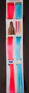 Haarsträhnen 2er Set türkis und pink, ca. 45 cm