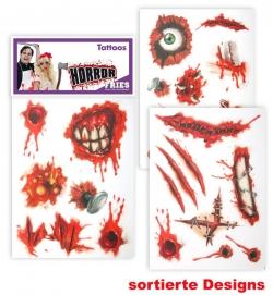 Horror Hautaufkleber / Tattoos - Wunden-Design