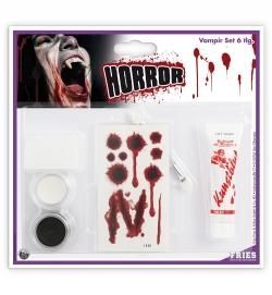Schmink Set Vampir-Set 6teilig Schminke Pinsel Schwamm Tattoos Blut