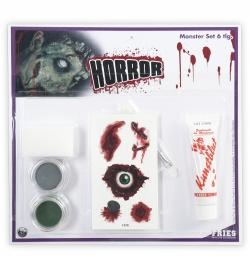 Schmink Set Monster-Set 6teilig Schminke Pinsel Schwamm Tattoos Blut