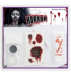 Schmink Set Zombie-Set 6teilig Schminke Pinsel Schwamm Tattoos Blut