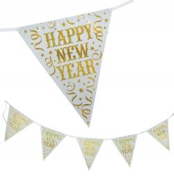 Wimpel Girlande Happy New Year Silvester Deko